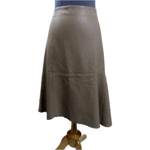 ZARA Faux Leather Asymmetric Skirt Creamy Beige